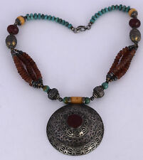 Old TURKOMAN tribal ethnic big Niello beaded necklace Turquoise Carnelian silver