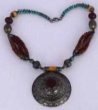 Old TURKOMAN tribal ethnic big Niello beaded necklace Turquoise Carnelian silver