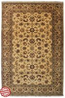 Gold Brown Area Rug Vintage 100% Wool Hand Knotted Carpet Traditional 5'X8' Rugs