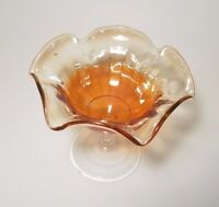 "Scalloped Iridescent Stemmed Orange Candy Dish ""Carnival Glass Style"""