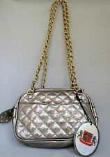 NEW URBAN EXPRESSIONS SHINY METALLIC QUILTED SHOULDER HAND BAG WITH GOLD CHAIN