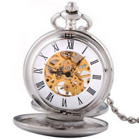 Vintage Silver Smooth Double Hunter Mechanical Pocket Watch Windup Chain Retro