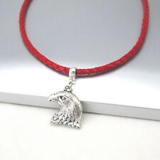 Silver Alloy Hawk American Eagle Head Pendant 3mm Braided Red Leather Necklace