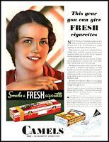 1931 Woman smoking Camel cigarettes Christmas vintage color photo Print Ad adL27