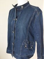Chico's Platinum Jean Jacket Size 3 XL Button Front Blue Denim Stretch Pockets
