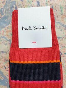 Paul Smith Mens Socks Chunky Rib Stripe Red Navy & Orange K835 1-Size Cotton Mix