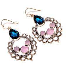 Rose Quartz, Tanzanite Gemstone silver plated Handmade Oxidized Artisan Earrings