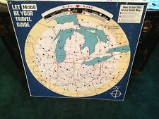 """Metal Mobil Guide Map 1960's 28"""" X 28""""   It works"""