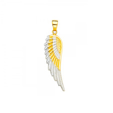 14K Solid Yellow White Gold Angel Wings Pendant - Guardian Luck Necklace Charm