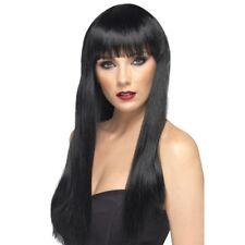 Women's Black Beauty Wig Long Straight Fringe Fashion Model Fancy Dress Pop Star