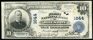 US Paper Money 1902 $10 National Houston #1644 NO RESERVE!