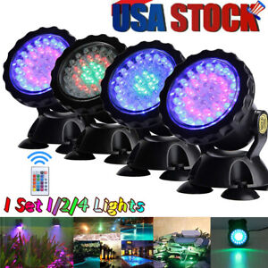 Submersible 144 LED RGB Pond Spot 4 Lights Underwater Pool Fountain + IR Remote