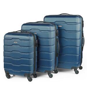 VonHaus 3pc Lightweight Suitcase Set Hard Shell Luggage Travel Trolley Navy