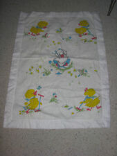 Vintage Baby Blanket White Duck Butterfly Flower Goose Thick Nylon Trim Band