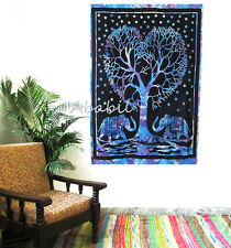 Elephant Tree Wall Hanging Indian Cotton Poster Size Tapestry Urban Decor Throw