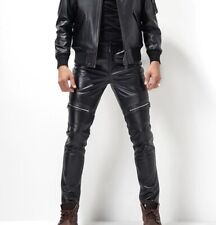 Pure buffalo leather men's pant black genuine leather jeans