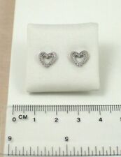 Ladies 9mm Solid 9ct White Gold Heart Shaped Cubic Zirconia CZ Set Stud Earrings