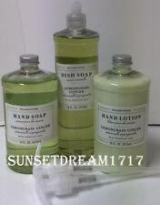 Williams Sonoma Lemongrass Ginger Hand Soap / Lotion & Dish Soap Set + Pumps New