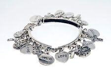 Handmade Pure 925 Sterling Silver Fine Bracelet Love/Hope/Faith 48.7 g Taxco/Mex