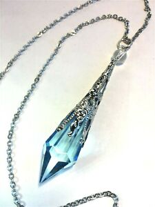 Crystal Pendant Necklace w/ Aqua Blue Crystal Prism Point Pendulum, Handcrafted