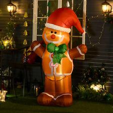 HOMCOM 183cm Christmas Inflatable Gingerbread Man & Santa Hat w/ LED Lights