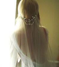 Juliet Cap Veil Swarovski Rhinestone ANY LENGTH cut edge veil Vintage Inspired 1