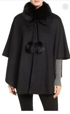 Genuine Fox Fur Collar Black Cashmere Cape