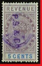 MALAYA 1888 STRAITS SETTLEMENTS QV REVENUE 5c USED ISC#R35 M2529