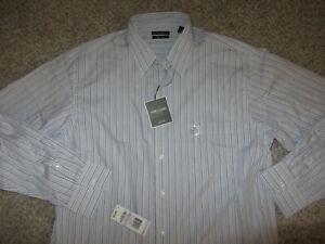 NWT Alfani Easy Care Long Sleeve Lounge Dress Shirt 100% Cotton Purple Striped