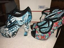 2 Pairs Iron Fist Tomb Sweeper & Chandelier Oxford Platform Shoes  SIZE 10
