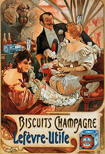 Mucha A3 Poster Biscuits Champagne Art Nouveau &FREE Lefevre Utile 2 Prints NEW