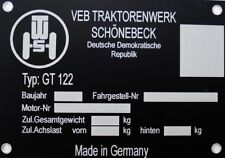 GT122 Traktor Schlepper Schild Ersatzteile ( Typenschild 105x75mm )   NEU