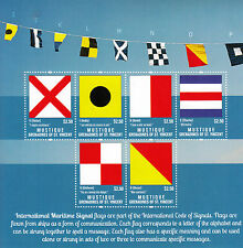 Mustique Gren St Vincent 2013 MNH Maritime Flags 6v M/S Int Signal Ships Stamps