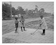 1900s era vintage photo-African American children playing golf-2-8x10in
