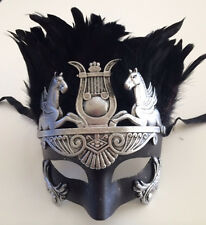 Roman WARRIOR Emperor Venetian Masquerade Mardi Custome Mask Men Black Silver