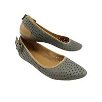 Nine West Tansy Flats Point Toe Gray Perforated Leather nw7tansy Women Size 7.5