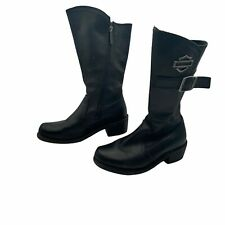 HARLEY-DAVIDSON Black Leather Boots Shoes Heel Side Zipper Size Woman's 7
