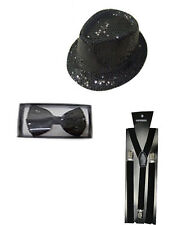 New Sparkle Dicky Dickie Black Sequin Hat Braces Bow Tie Set Disco Fancy Dress