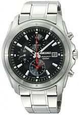 SEIKO SNDB67 SNDB67P1 Mens Chronograph Black Dial Steel 100m Quartz Watch