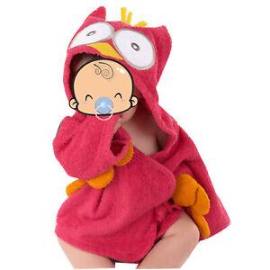 Infant Baby Toddler Boys Girls Hooded Bathrobe Cartoon Animal Bathing Bath Towel