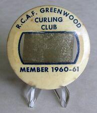 RCAF Royal Canadian Air Force Greenwood N.S Curling Club Member Tag 1960 - 1961