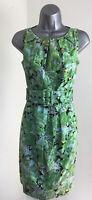 ELLE Gorgeous Green Floral UK12 Wide Belt Smart Lined Dress *EXCELLENT CONDITION