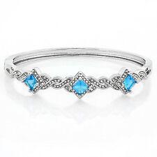 4.25ctw Sky Blue & White Topaz, 14k White Gold Filled Bangle Bracelet