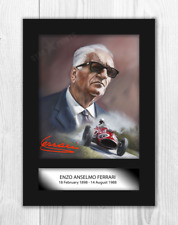 More details for enzo ferrari 1 a4 signed mounted painting picture poster choice of frame