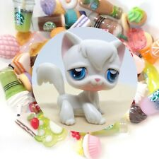 Authentic Littlest Pet Shop White Longhair Cat # 9 + *Suprise Food Items*