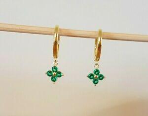 Emerald CZ Huggie Hoop Earrings Shamrock Clover Dainty hoops huggies green