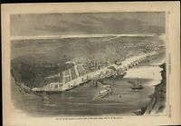 New Orleans Birds Eye View Captured by Union Forces 1862 antique engraved print