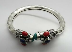 01 Piece Bangle Silver Tribal Cuff Antique Jewelry Turquoise Coral Lapis Bangle