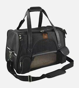 Purrpy Premium Cat Dog Carrier Airline Approved Soft Sided Pet Travel Bag, Black