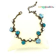 Swarovski Elements Crystal New Aquamarine Blue Bronze Wavy Bracelet Women Gift